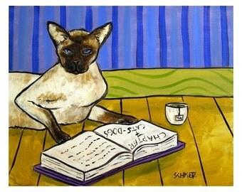 Siamese Cat Reading a Book Art Print 8x10