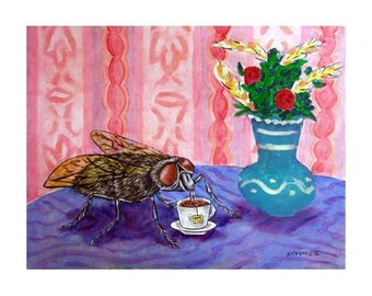 House Fly at the Coffee Shop Insect Art Print