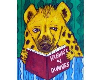 Hyena Reading a Book Animal Art Print