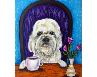 Dandie Dinmmont , dog, dog art,dandie dinmont print, gift modern folk , coffee, coffee art, coffee print,pop art