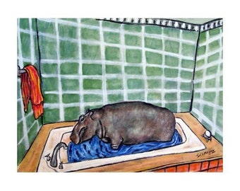 Hippopotamus Taking a Bath Hippo Art Print