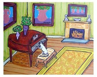 Siamese Cat Playing the Piano Animal Art Print