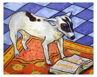 Rat Terrier Reading Dog Art Print