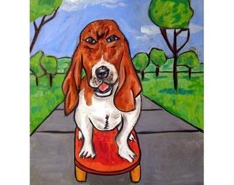 Basset Hound Riding a Skateboard Dog Art Print