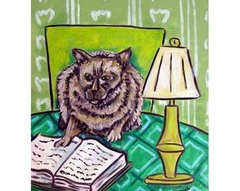 Burmese Cat Reading a Book Animal Art Print
