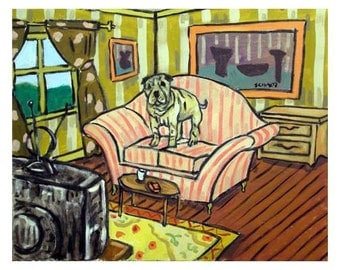 Shar Pei Watching the Television Dog Art Print 8x10