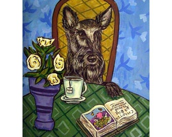 Scottish Terrier at the Cafe Coffee Shop Dog Art Print