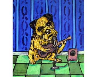 Border Terrier Playing the Guitar Dog Art Print