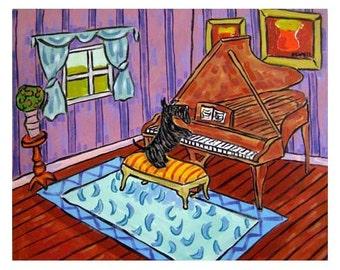 Scottich Terrier Playing Piano Dog Art PRINT 11x14 JSCHMETZ modern abstract folk pop art american ART gift