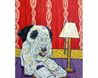 Sealyham Terrier Reading a Book Dog Art Print