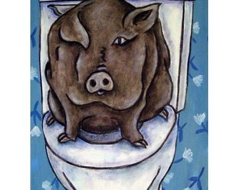 Pig in the Bathroom Animal Art Print