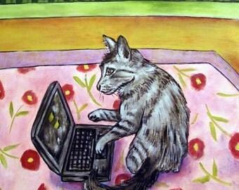 grey Cat, tile, coaster, gift modern folk, cat art, cat print on tile, cat tile, modern, folk, gift