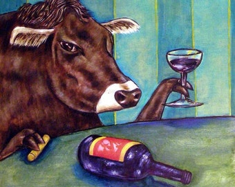 Cow at the Wine Bar Animal Art Tile Coaster