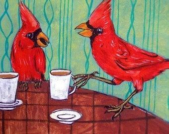 Cardinals at the Cafe Coffee Shop Bird Art Tile Coaster