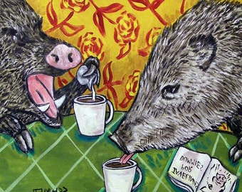 Javelina at the Coffee Shop Animal Art TIle