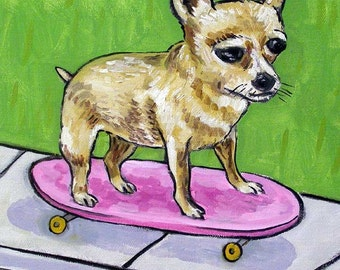 Chihuahua Riding a Skateboard Dog Art Tile Coaster  JSCHMETZ modern abstract folk pop art american ART gift