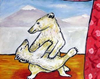 Polar Bears Dancing Animal Art Tile Coaster