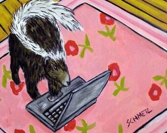Skunk Working at home Art Tile Coaster