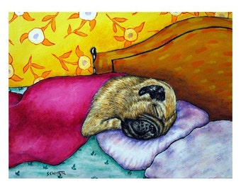 Pug Sleeping Dog Art Print