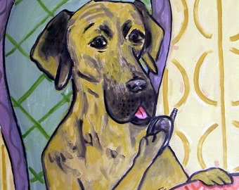 Great Dane Talking on a Cell Phone Dog Art Tile