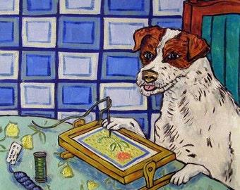 Jack Russell Terrier Doing Needlepoint Dog Art Tile