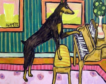 Doberman Pinscher Playing Piano Dog Art Tile Coaster