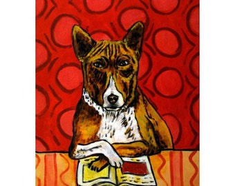 Basenji Reading Dog Art Print