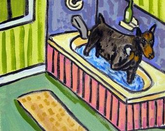 Doberman Pinscher PRINT on tile, ceramic coaster, bathroom art, modern dog folk art, doberman art, dog print on tile