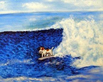 jack russell, jack russell terrier, jack russell art, jack russell print on tile, ceramic coaster, gift, surfing art, gift,tile