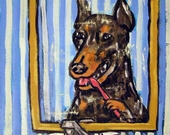 Doberman Pinscher ,doberman art, print on tile, ceramic coaster, gift for dentist, modern dog art, doberman pinscher tile, dog art tile