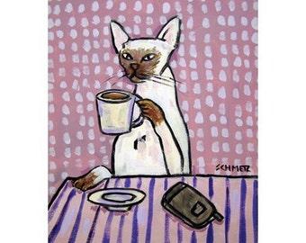 Siamese Cat at the Coffee Shop Art Print