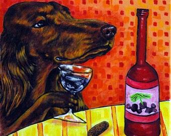 Irish Setter at the Wine Bar Dog Art Tile Coaster