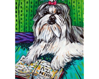 Shih Tzu Reading a Book Dog Art Print