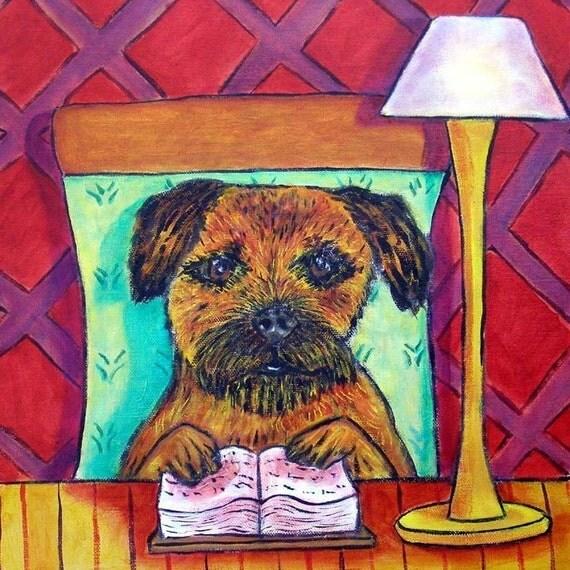 Border Terrier Reading a Book Dog Art TIle Coaster