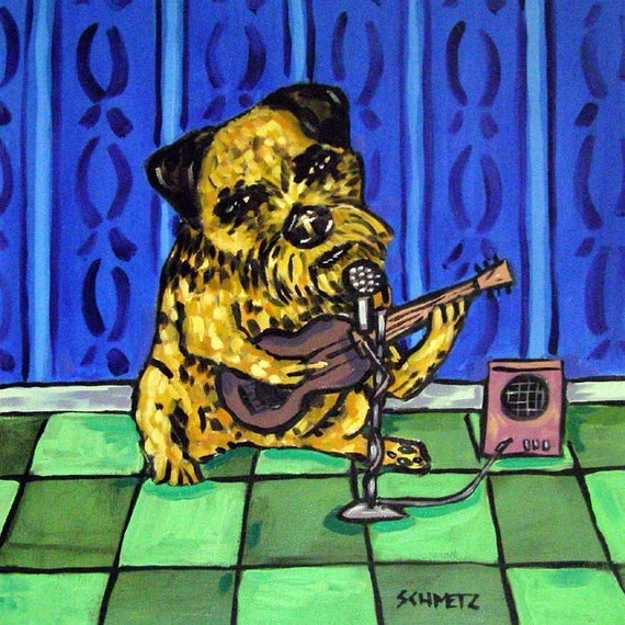 Border Terrier Playing Guitar Dog Art Tile Coaster JSCHMETZ modern abstract folk pop art american ART gift