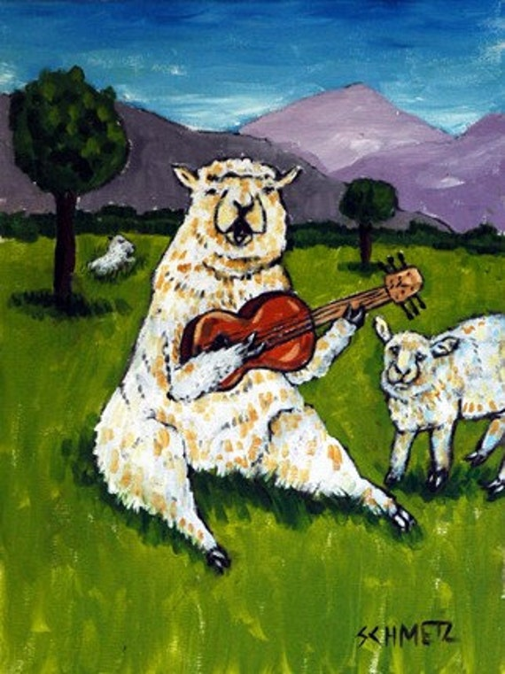 Sheep Ram Playing Guitar in Pasture Animal Art Print