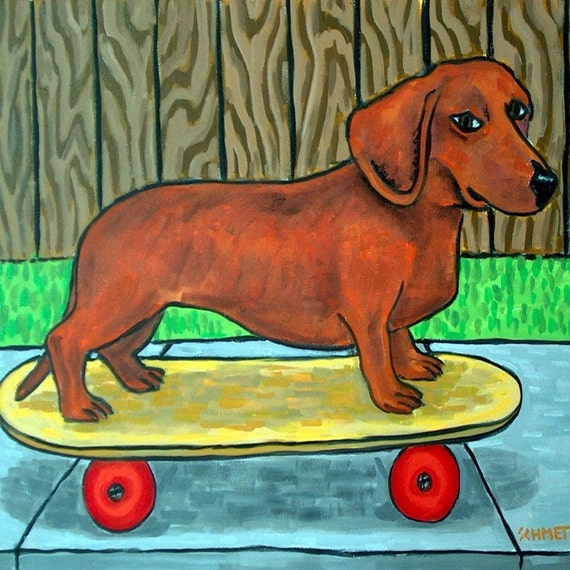 Dachshund Riding a Skateboard Dog Art Tile Coaster Gift