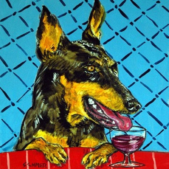 Doberman at the Wine Bar Dog Art Tile Coaster Gift