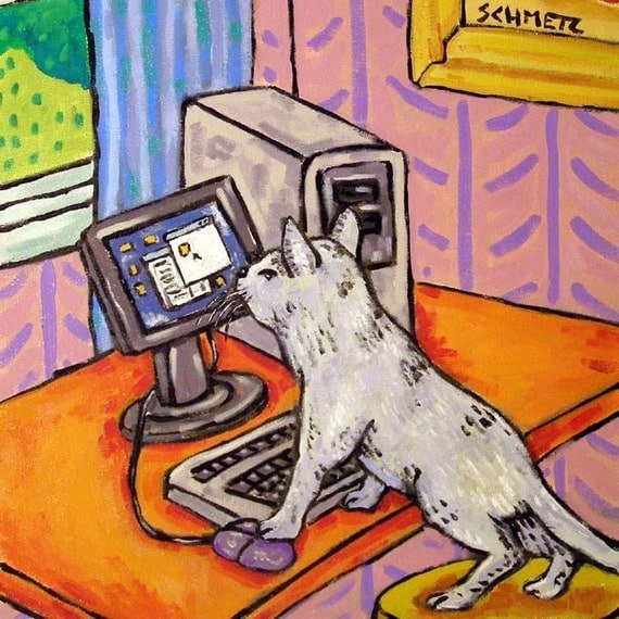 Grey Cat Working on the Computer Cat Art Tile Coaster Gift JSCHMETZ MODERN abstract folk pop art AMERICAN art