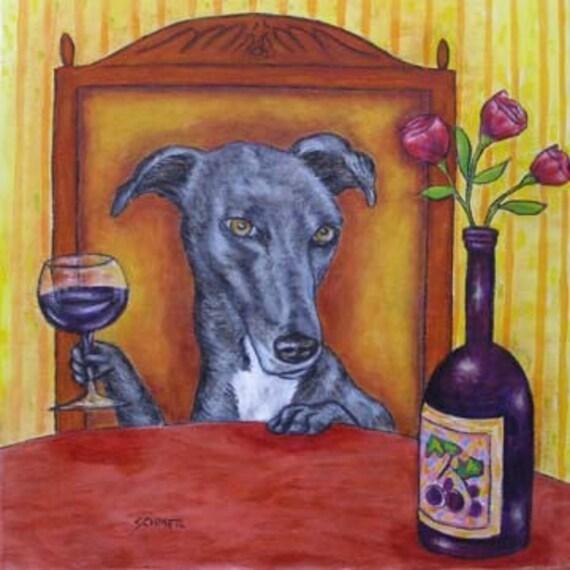 greyhound dog, greyhound art - greyhoung print on tile, greyhoung tile, wine, wine art, wine tile, modern dog art, dog