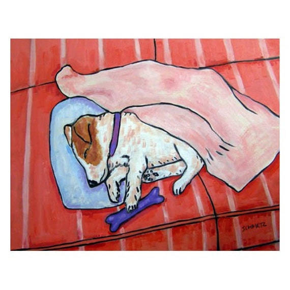 Jack Russell Terrier Sleeping with a Dog Toy Art Print
