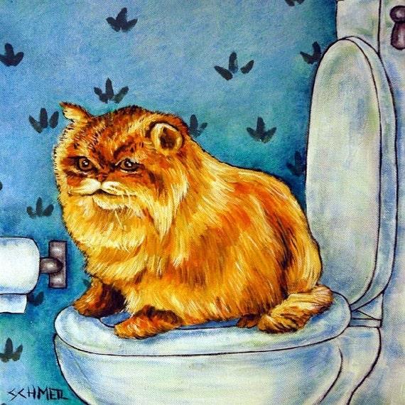 Chinchilla Persian Cat in the Bathroom Art Tile
