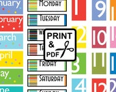 Days Weeks Months - 116 rectangle tiles - PDF - Print and Cut