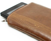 Back to School Kindle Case Sleeve - Brown Woodgrain for Kindle Fire Gadget Bag