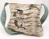 Handbag Purse in Vintage Bark Cloth