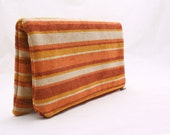Fold Over Zipper Clutch in Sunset Golden Stripes