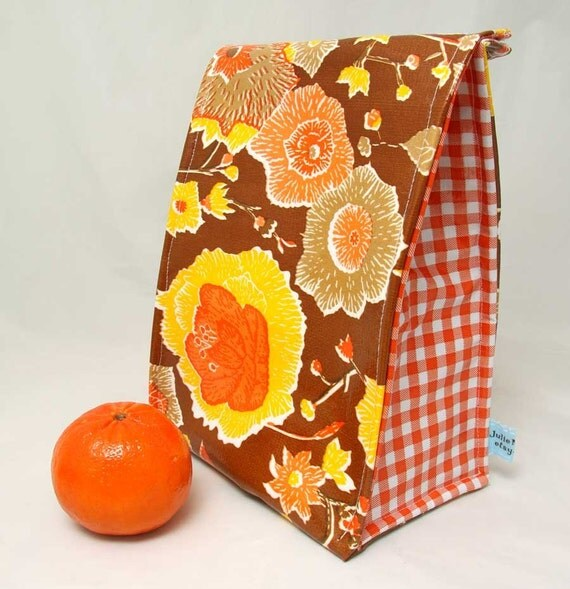 Lunch Bag - Insulated Vintage Inspired Golden Floral with Orange Gingham