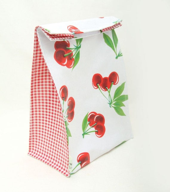 Lunch Bag - Red Cherry Oilcloth Print by Julie Meyer on Etsy