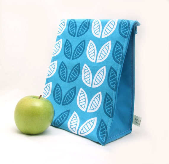Insulated Lunch Bag for Back to School in a Modern Teal Blue Leaf Print
