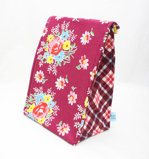 Eco Insulated Lunch Bag in a Magenta Floral and Plaid